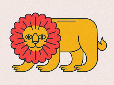 El león monoline line kingdom animal illustration card tarot icons animals flower animal lion yellow red icon vector logo 2d flat illustration design
