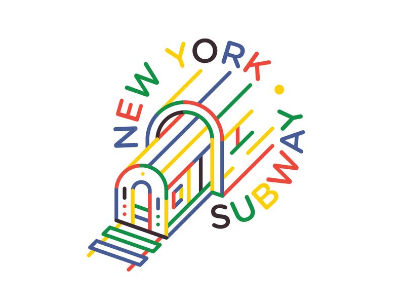 New York Subway green blue yellow tunnel rainbow red color city new york subway typography branding badge icon vector logo flat 2d illustration design