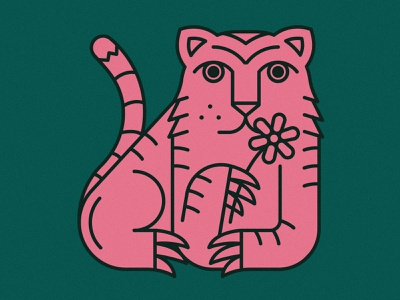 Tiger | Animal House pt. I plants plant flowers art line monoline designs graphic green pink tiger flower animals animal branding badge icon logo illustration design