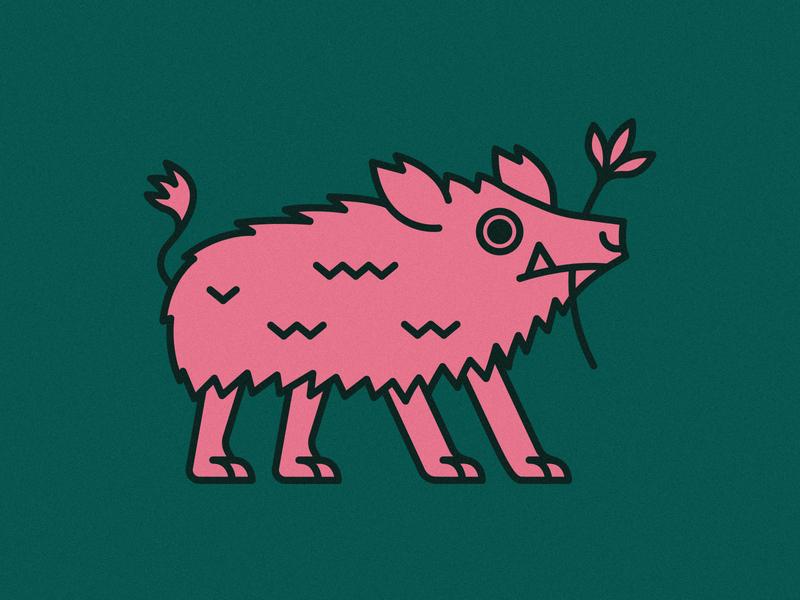 Boar | Animal House pt. II kingdom piggy hair nature plants animals logo icons plant flower pig green pink animal icon vector flat 2d illustration design