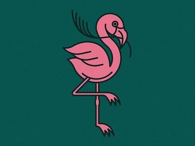 Flamingo | Animal House pt. III flat art stick twig africa flamingos flamingo vine plant animals icons plants pink green animal icon vector logo illustration design