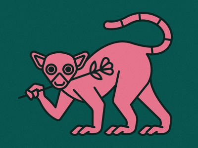 Lemur | Animal House pt. IV creature feet madagascar animals animal nature monkey lemur flowers flower plants plant green pink icon vector logo flat illustration design