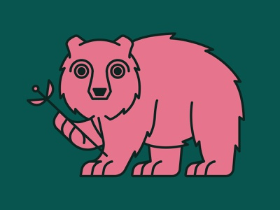Bear | Animal House pt. V icons wild animals animal forest nature green pink plants plant flowers flower designs bears bear icon logo flat illustration design