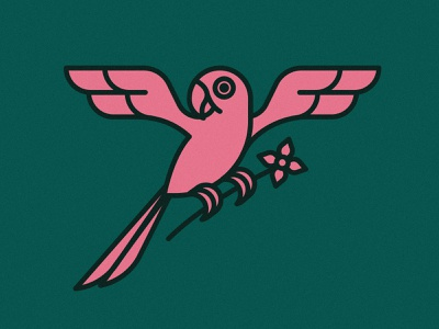 Parrot  | Animal House pt. VI plants animals animal green pink flowers flower plant exoctic bird parrots parrot art line art monoline line icon logo illustration design