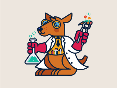 The Creator (1/3) pen graphic lab coat gloves wrench tie mushroom goggles test tube beaker lab scientist science kangaroo icons icon animals animal illustration design