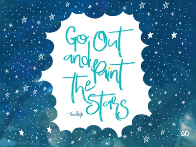Go out and paint the stars quote illustration night blue graphicdesign design graphic colour paint stars