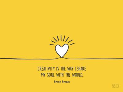 Creativity world illustration yellow soul share love creativity quote brenebrown