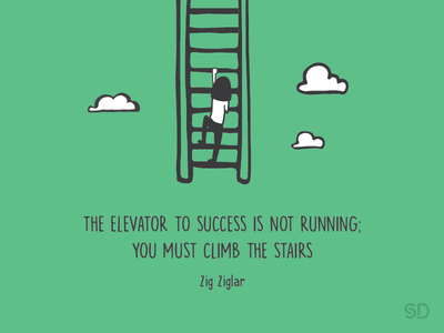 Stairs zigziglar elevator green quotes creativequotes success climb clouds stairs