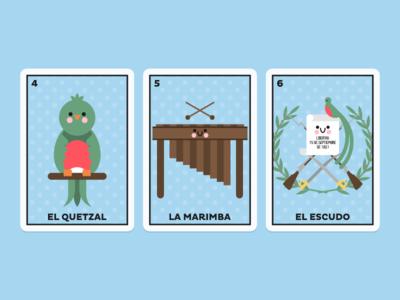 Guatemala 2 vector lotería independence day guatemala flat marimba bird quetzal cute
