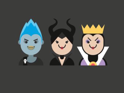 Disney Villains hades evil queen maleficent villains disney cute vectober halloween flat vector