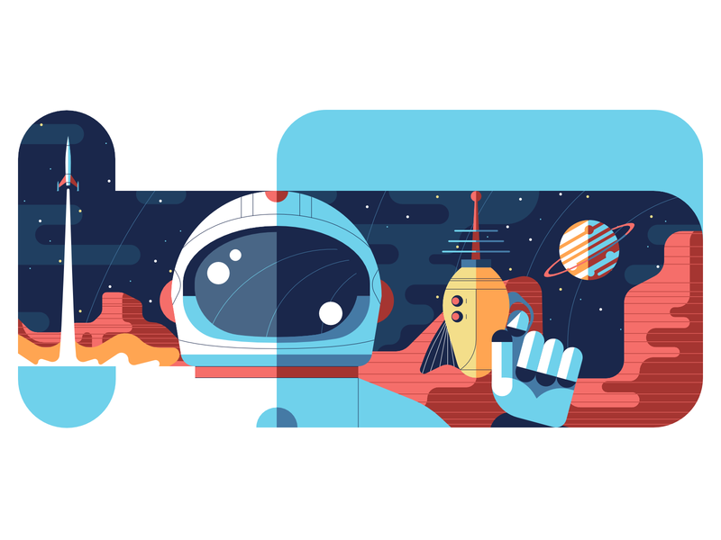 Spaceman star pistol laser planet astronaut spaceship sci-fi space stroke head affinity portrait flat design character vector illustration