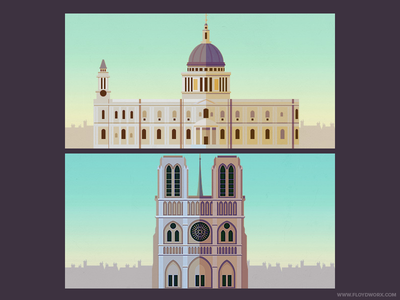 Buildings for an infographic #2 (2x)