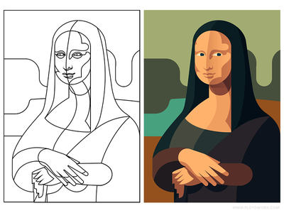 Mona Lisa - infographic element design flat painting portrait vinci da leonardo illustration character outline mona lisa
