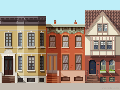Houses #1 (2x) brownstone illustration flat home building flat design shadow house downtown suburbs brooklyn