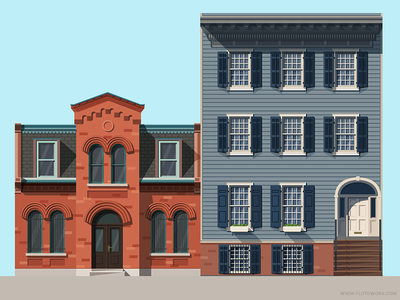 Houses #2 brownstone illustration home building flat flat design house brooklyn suburbs downtown