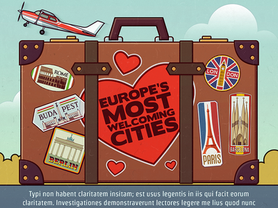 Infographic header (2x) infographic travel europe luggage case sticker city
