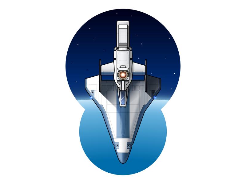Spacecraft from the 1985 movie 'Real Genius' starship stars planet retro gradient outline stroke film 80s illustrator design vector illustration spaceship space