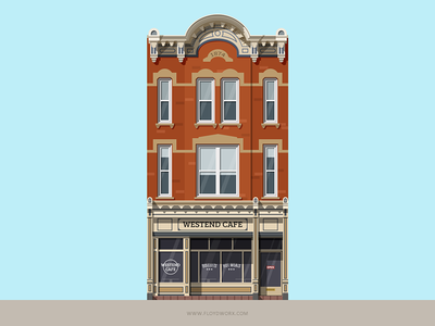 House #3-2 brownstone illustration building home house flat design shadow brooklyn downtown flat suburbs cafe