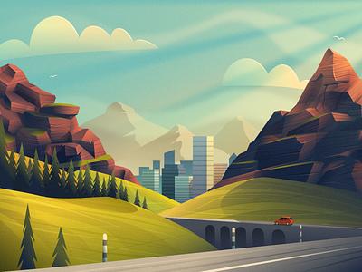 Landscape - infographic header pine scene landmarks valley city road sky mountain scenery affinity design vector illustration