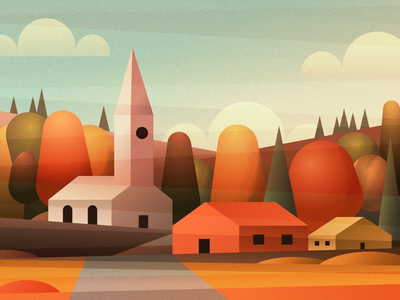 Village scenery - infographic header hill landscape gradient grain clouds autumn country building trees sky church house affinity design vector illustration