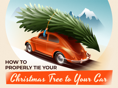 Transporting the Christmas tree - infographic header beetle mountain volkswagen vw holiday xmas car vehicle grain gradient noise advertisement automobile 40s deco art affinity design vector illustration