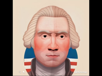 George Washington animated portrait deep learning deepfake ai president head face portrait design character illustration