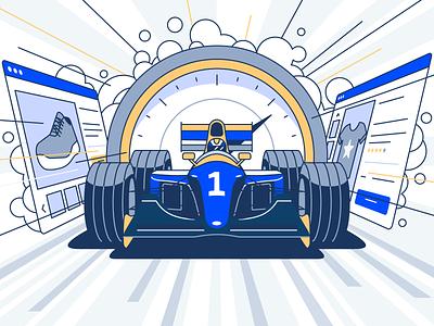 Average page load time - infographic header formula gauge website road speed racecar car race stroke flat design vector illustration