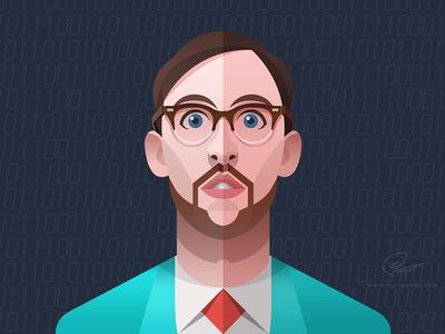 Dude - infographic element portrait design head face man illustration character dude glasses guy surprise flat