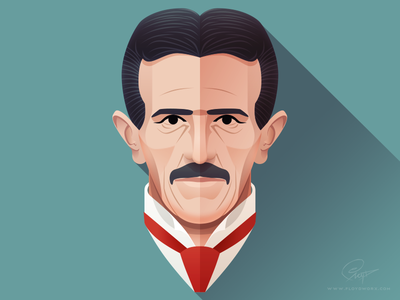 Nikola Tesla - Infographic element face portrait character design nikola tesla serbian electricity head man inventor flat