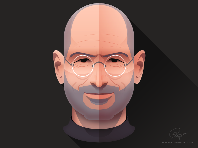 Steve Jobs - Infographic element face portrait design character illustration steve infographic apple ceo founder head flat