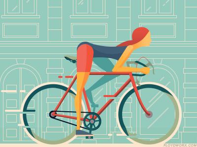 Kerékagy blog header 2 - side right character flat design header blog bicycle bike girl cycle retro flat