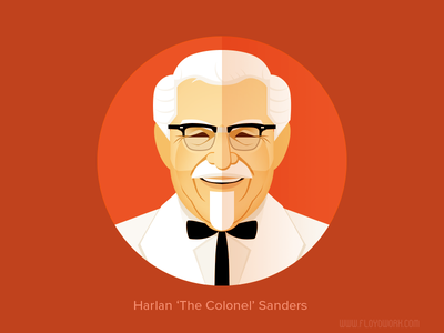 Harlan 'The Colonel' Sanders / KFC - infographic element face portrait character flat cartoon illustration head colonel kfc
