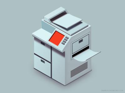 Photocopier vector photoshop isometric photocopy office
