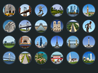 Cities icons - infographic elements