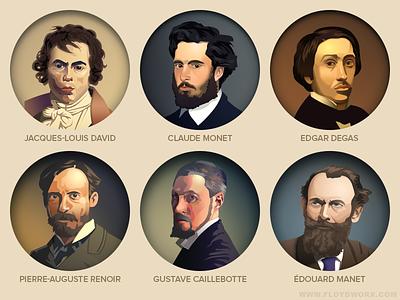French painters - infographic elements character illustration paris france impressionist impressionism painting portrait