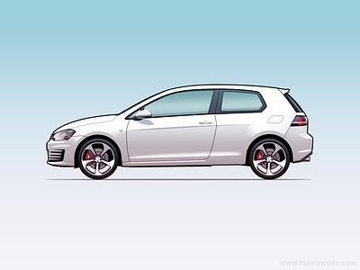 VW Golf GTi - Infographic element illustration alloys volkswagen auto car