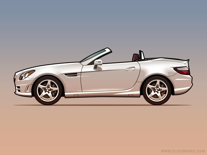 Mercedes SLK - infographic element illustration vector auto car benz mercedes