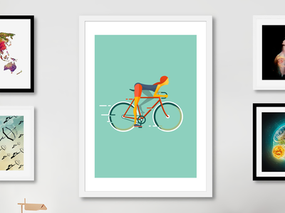 Cyclist print for sale on Curioos character vector picture poster wall minimal design flat girl bike bicycle cycle