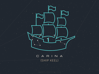 Constellation - Carina sky flag sail boat ship star space outline map illustration circles