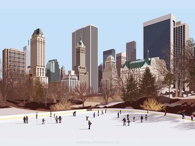 New York ice rink - infographic element