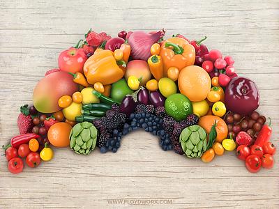 Fruits - infographic element onion paprika blackberry tomato apple orange rainbow illustration fruit food
