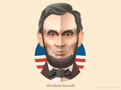 Abraham Lincoln - infographic element face portrait illustration head character states united president usa