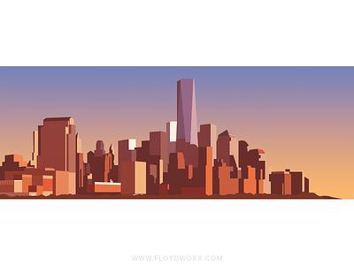 New York sunset - infographic element building skyscraper vector illustration metropolis city york new