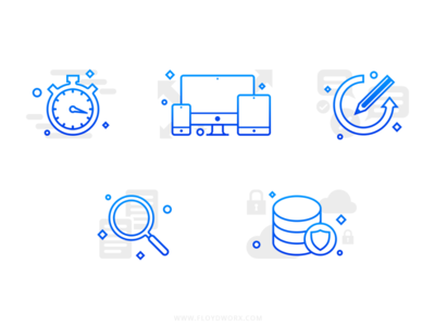 Icons for a website outline illustration icon safe backup data revision responsive seo fast quick