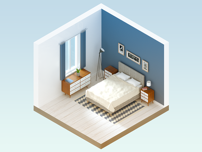 Bedroom - infographic element bed room interior house home illustration 3d cube isometric furniture