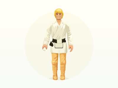 Luke action figure - infographic element 70s movie retro action toy illustration character figure wars star skywalker