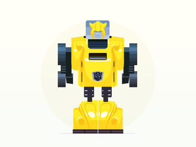 Transformer - infographic element character retro illustration toy transformers bumblebee