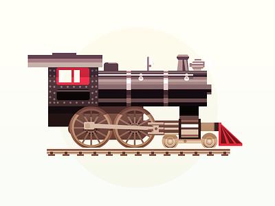 Vintage model train - infographic element 20s locomotive vintage illustration toy
