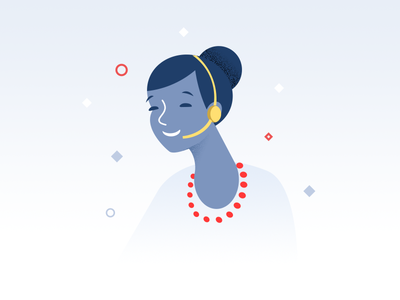 Customer service girl - infographic element woman flat illustration character headset phone helpdesk