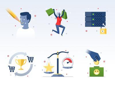 Icons #1 - infographic elements shopping consumer flat character illustration icon